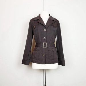 Chico's Brown Cotton Blend Jacket with Belt